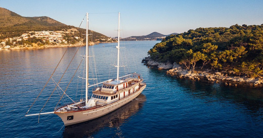 luxury gulet corsario at anchor in croatia