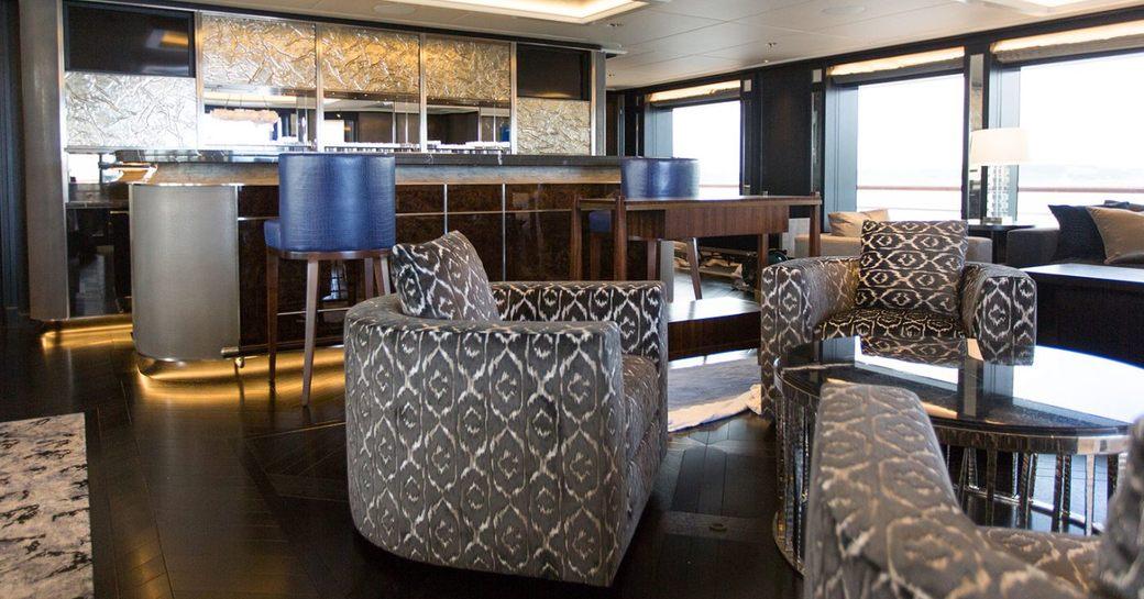The refit main salon of luxury yacht AQUILA