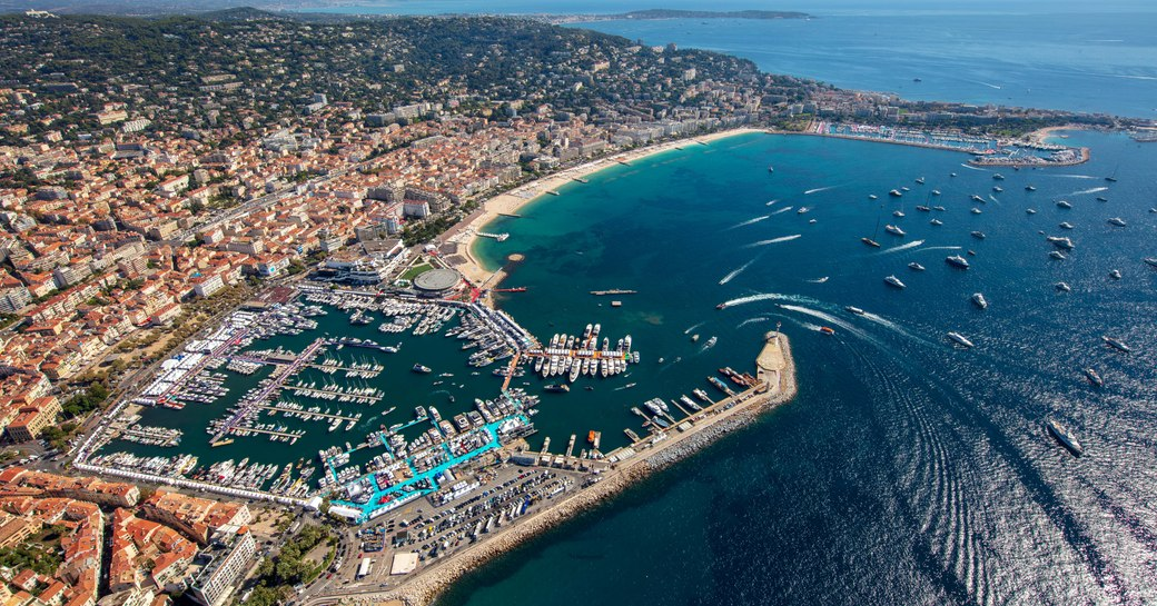Aerial view of Vieux Port in Cannes during Cannes Yachting Festival