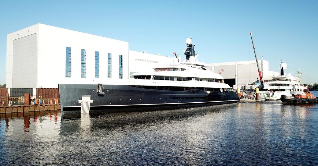 Superyacht ELANDESS at-anchor outside Abeking & Rasmussen