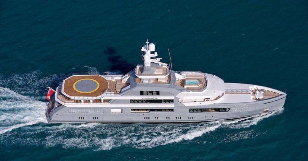 motor yacht cloud breaker underway in the mediterranean far away from high risk covid-19 xones