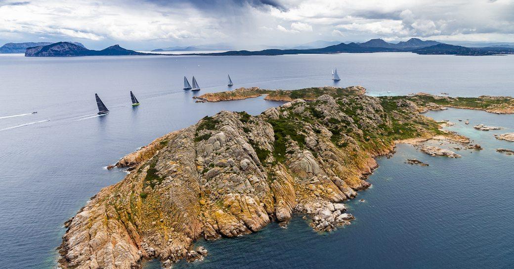 Aerial view of yachts racing around La Maddalena archipelago in Sardinia