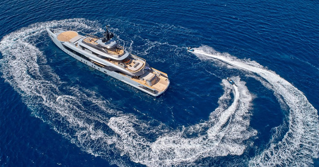 admiral yachts geco as seen from above with tender alongside