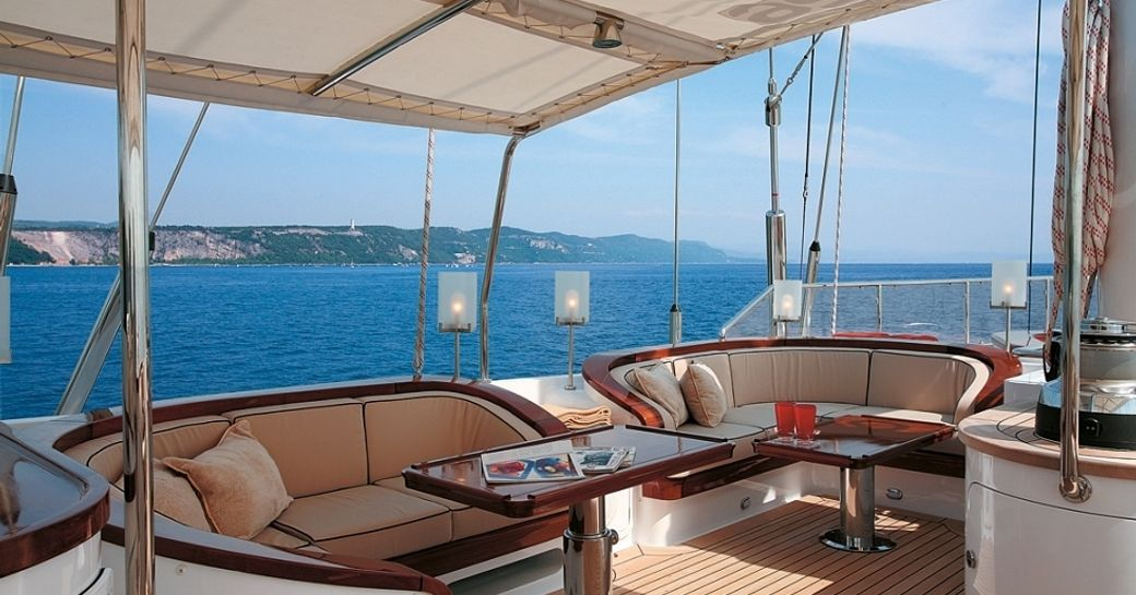 alfresco lounging under awning on board luxury yacht ROSEHEARTY