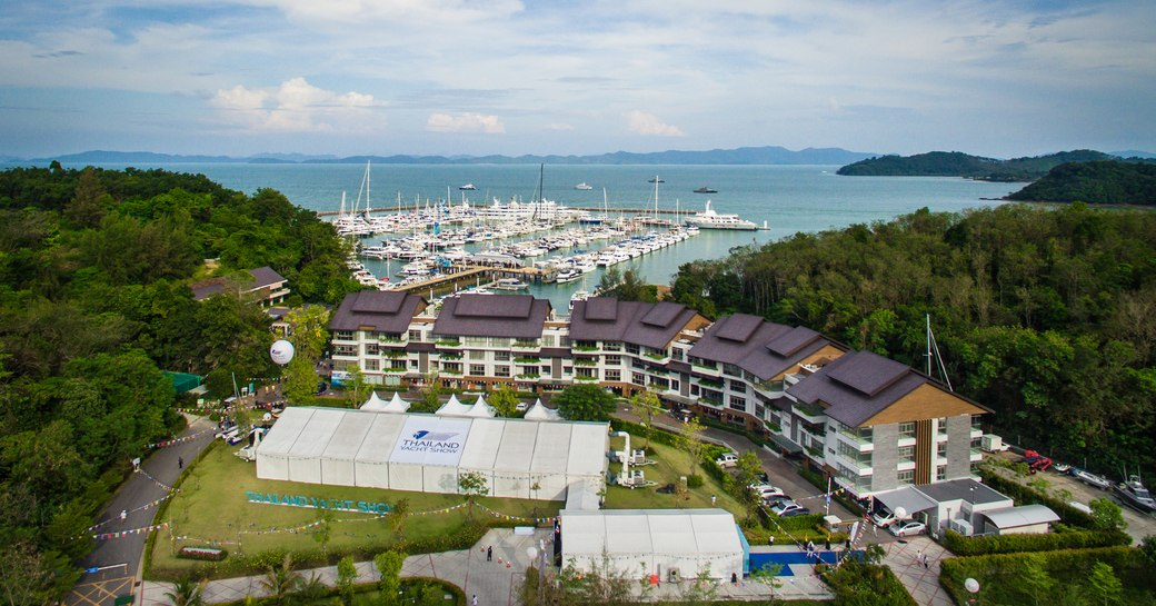aerial view of Thailand Yacht Show 2016 taking in Ao Po Grand Marina and exhibitor pavilion