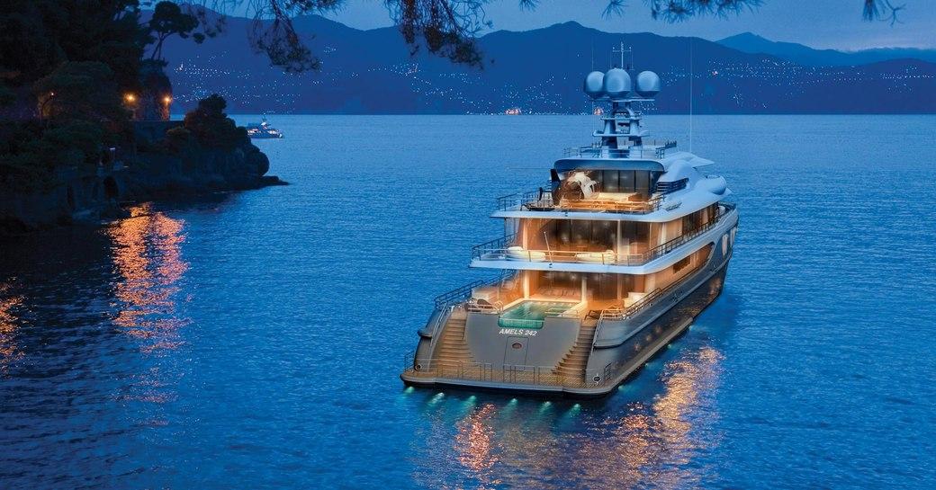 Amels Superyacht Plvs Vltra underway in the evening