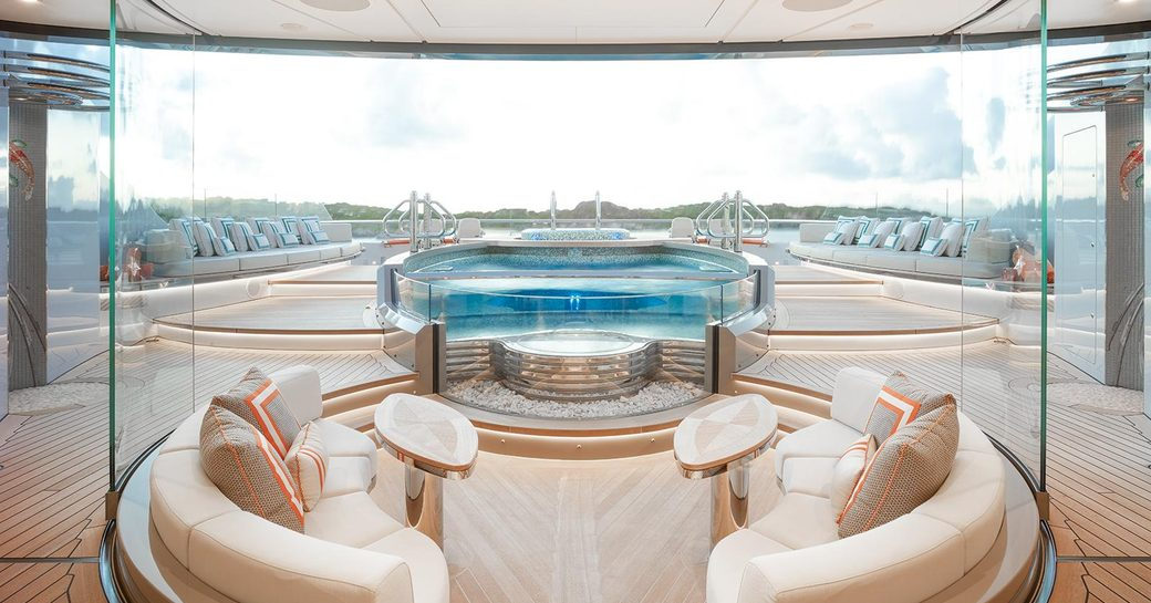 seating and pool on the sundeck of motor yacht KISMET