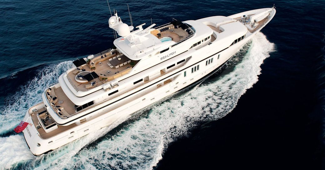 an aerial shot of superyacht sealyon underway in the Caribbean