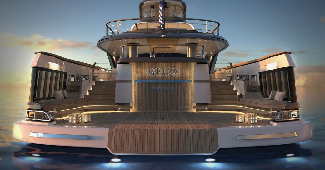 the capacious and well lit swim platform of charter yacht geco looking up towards the upper platforms at dawn