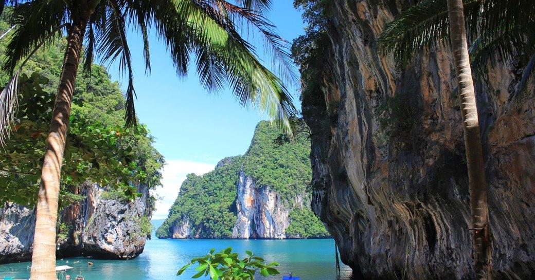 Thailand palm trees sea