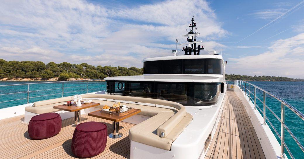 The sundeck of superyacht ONEWORLD