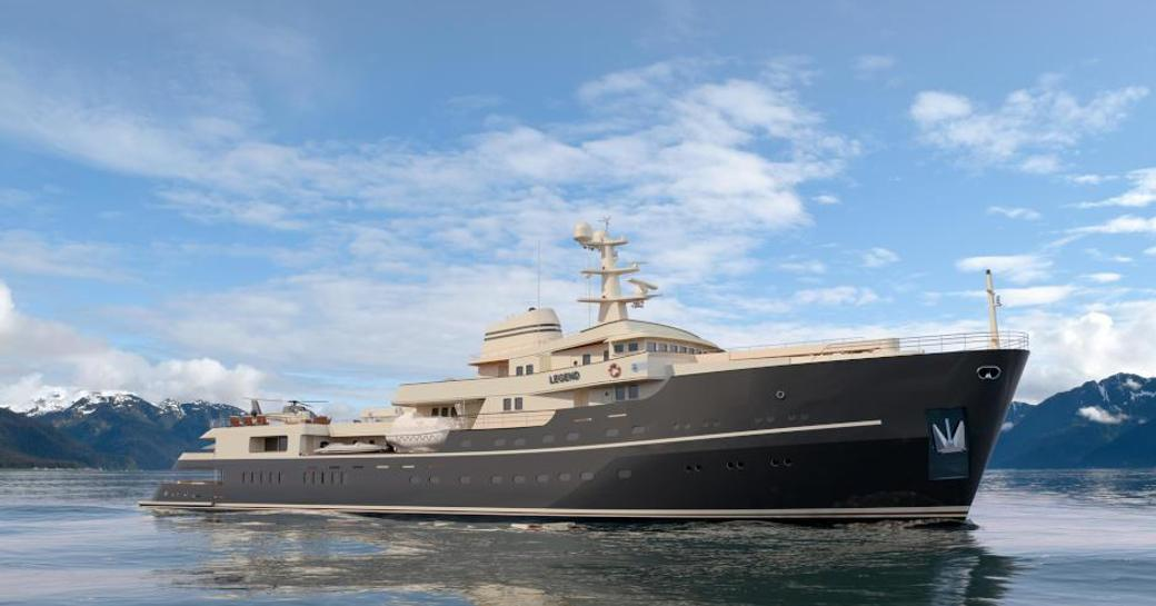 A rendereing of expedition yacht LEGEND