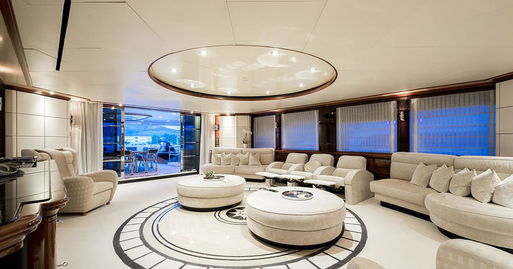 lovely skylounge in cream shades on board luxury yacht magenta m