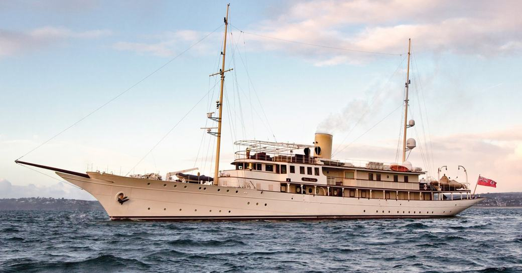 superyacht Haida 1929 anchored in a luxury yacht charter