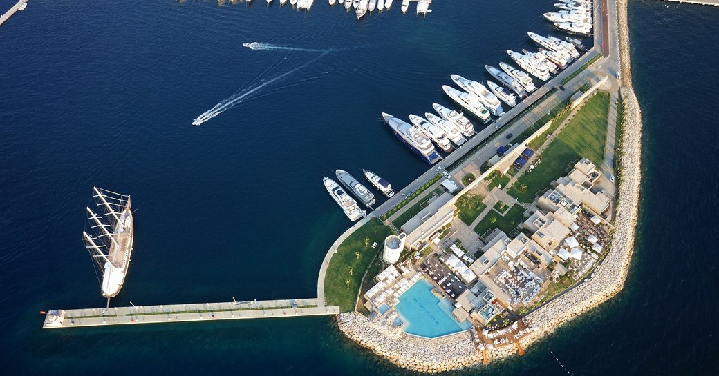 A drone photograph of PALMARINA, Bodrum. Yachts can be seen berthed.