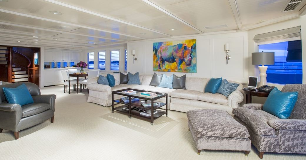 Superyacht RHINO's freshly refitted interior