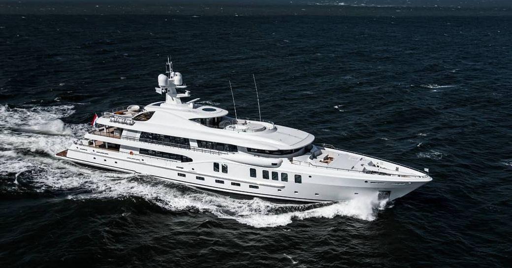 Luxury yacht Aurora Borealis underway in the open ocean