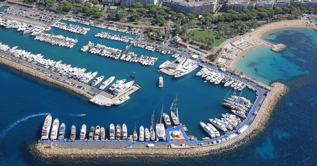 superyachts lined up in Port Canto for the Cannes Yachting Festival