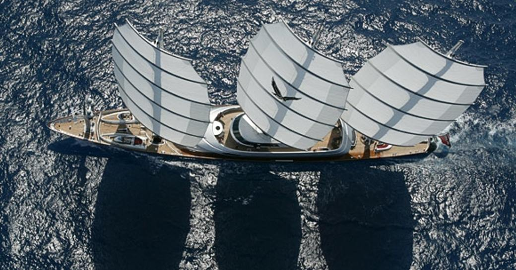overhead view of the spectacular sailing yacht Maltese Falcon when cruising on a charter vacation