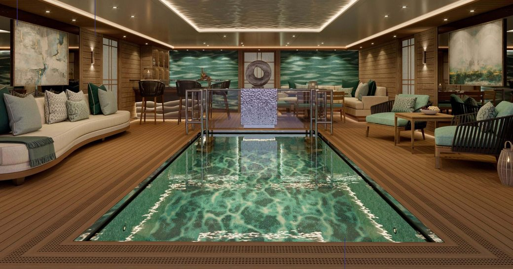 Swimming pool onboard MY Victorious