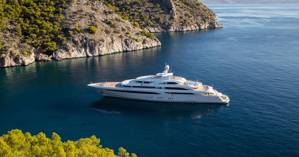 social distancing superyacht in small bay in greece