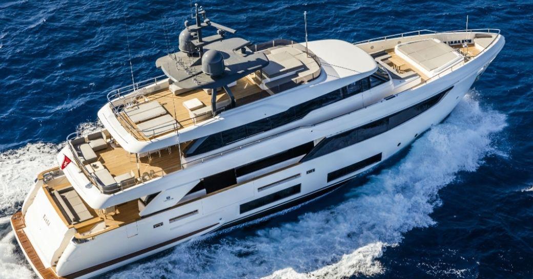 penelope yacht underway aerial shot