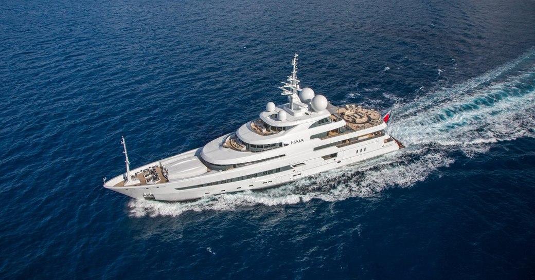 luxury yacht naia cruising underway