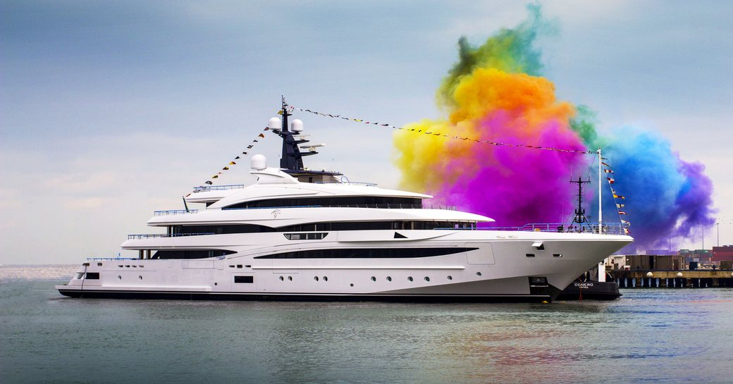 The colourful launch of CRN superyacht Cloud 9