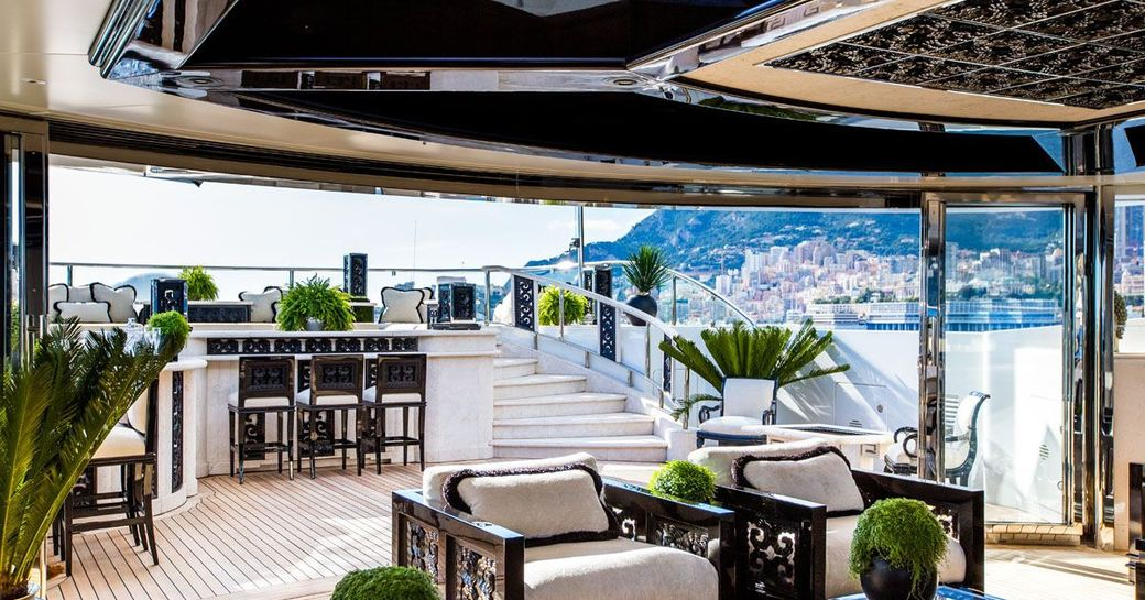 The vast space and black gloss finishings on the exterior of superyacht 'Lioness V'