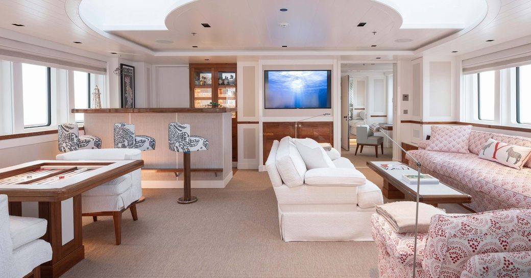 Light and airy interior on explorer yacht 'Blue II'