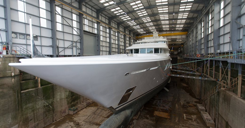 Lady E superyacht at the yard in Pendennis