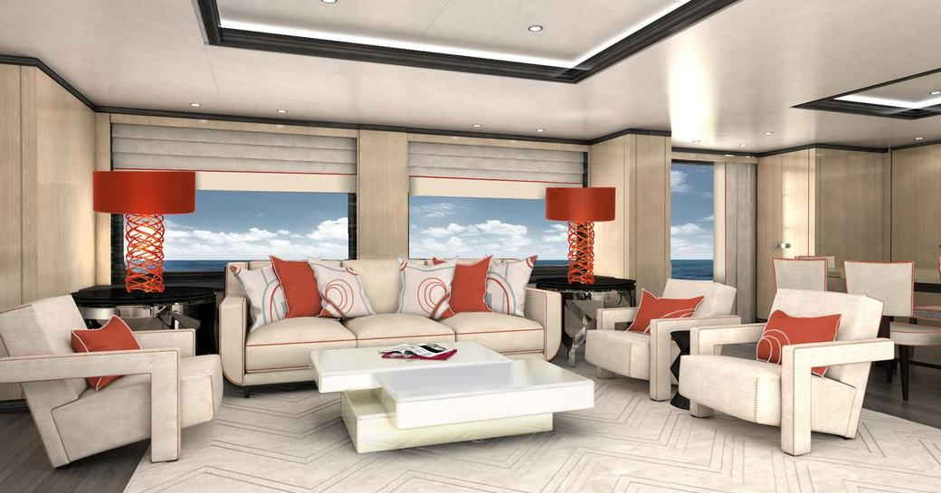main salon of luxury yacht PAPA with red cushions