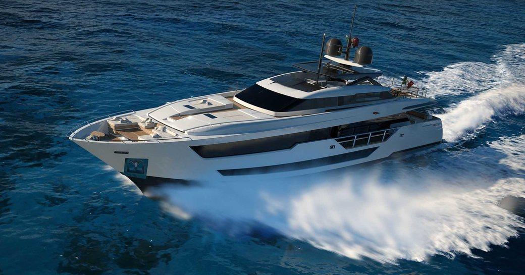 luxury yacht vista blue underway in the mediterranean