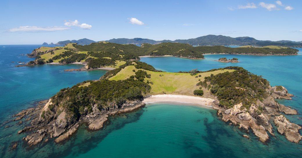Aerial shot of Urapukapuka Island, Bay of Islands, New Zealand
