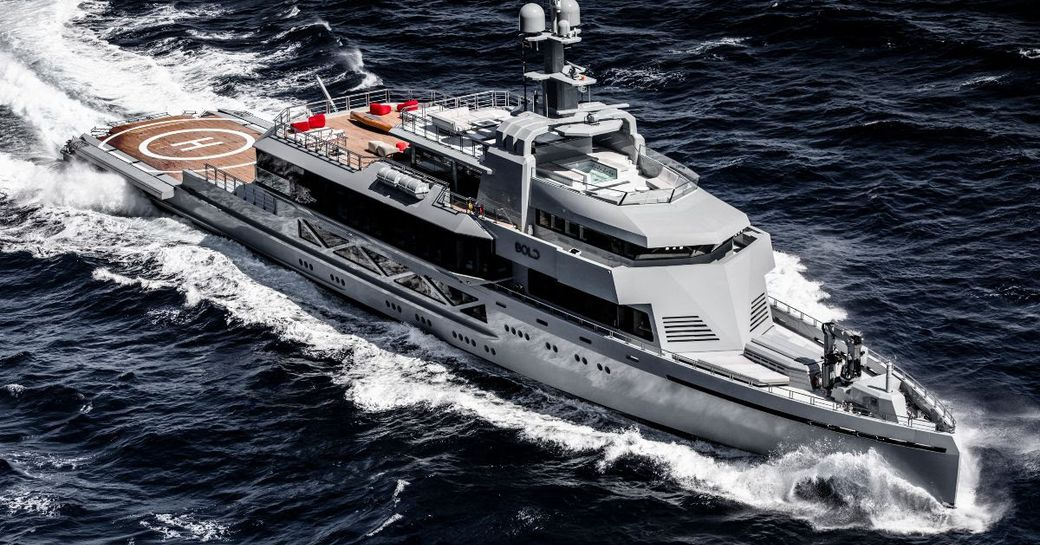 SilverYachts' 2019 delivered superyacht BOLD bursting dramatically through the deep waters of the Caribbean