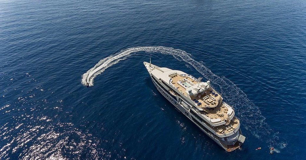 motor yacht SERENITY anchors on a Mediterranean yacht charter