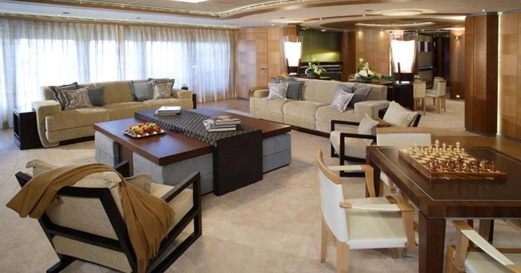 wheels superyacht main salon with lounging and seating area