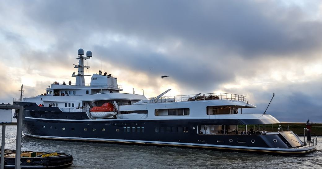 Expedition yacht LEGEND sits at anchor following her refit