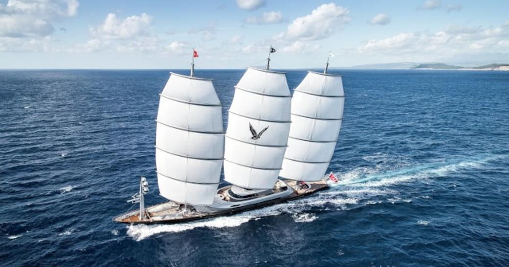 Maltese Falcon sailing yacht underway, surrounded by sea