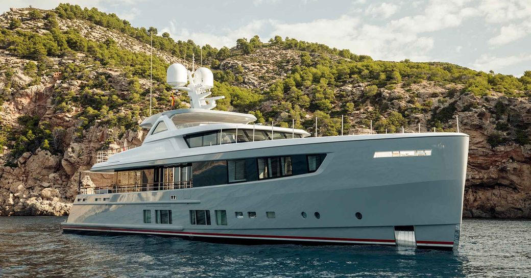 superyacht Calypso at anchor on a Mediterranean yacht charter