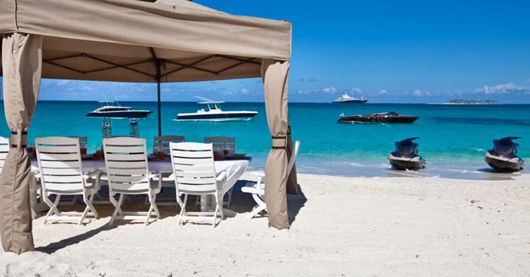 beach set up in the bahamas