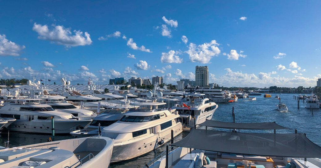 Fort lauderdale boat show looking down the river from a yacht