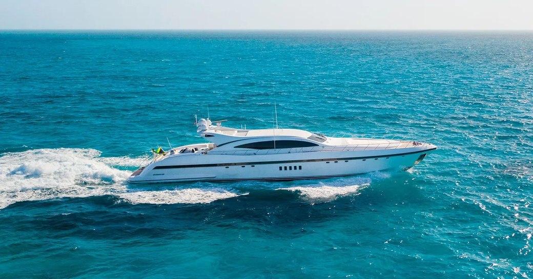 free spirit superyacht, speeding along the water