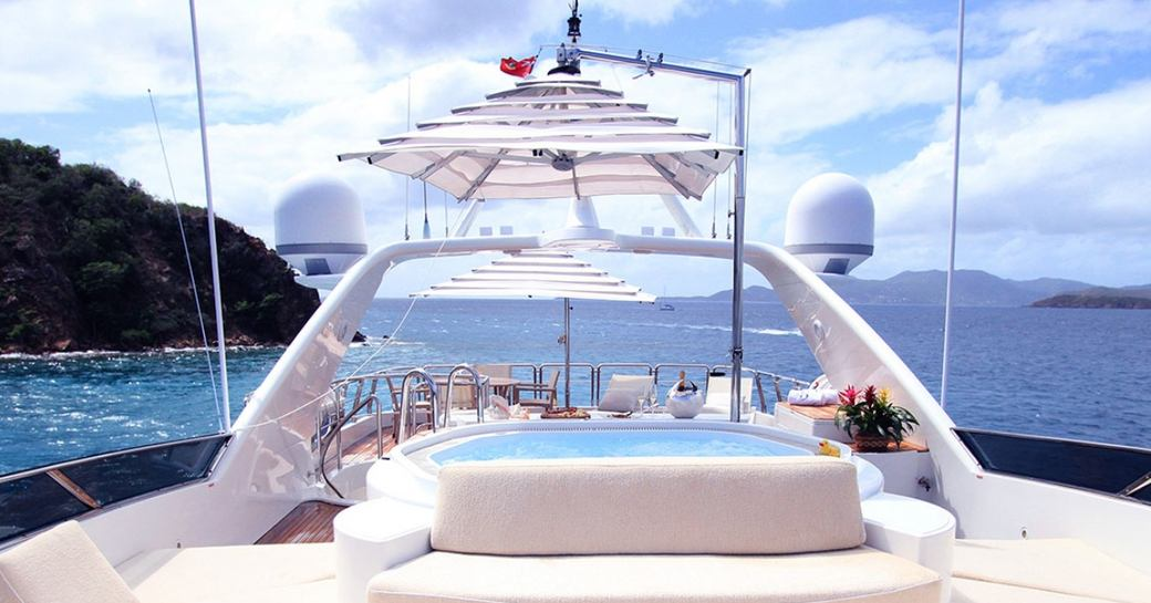 spa pool with parasol on the sundeck of luxury yacht BRUNELLO