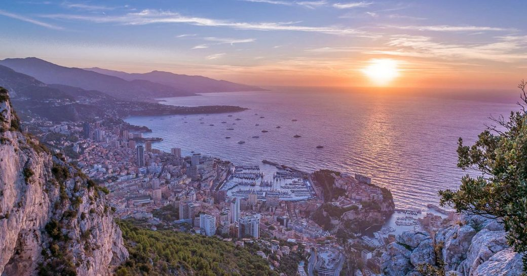 view of the Bay of Monaco as the sun sets during the Monaco Yacht Show 2018