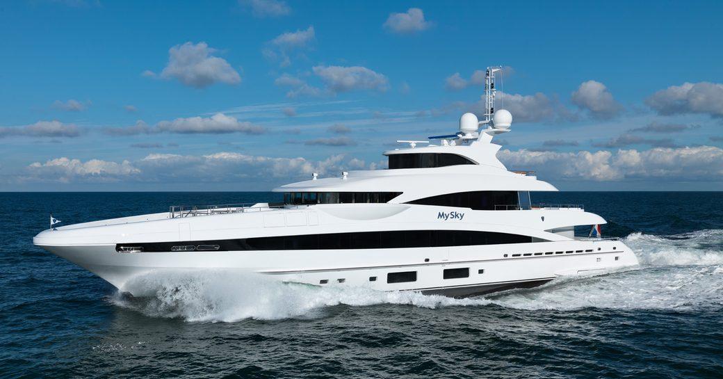 superyacht MYSKY cruising on a luxury yacht charter