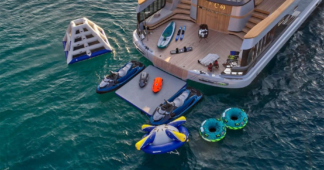 swim platform on superyacht geco, with toys laid out surrounding