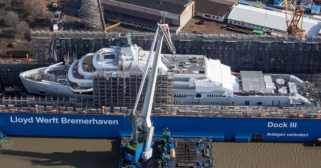 Aerial view of brand new expedition yacht project Solaris