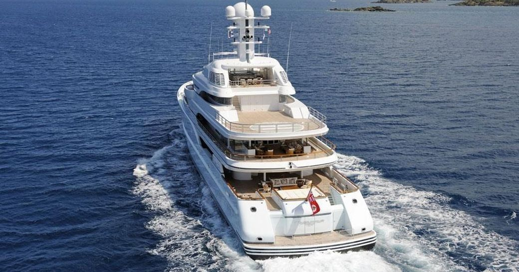 The aft of luxury yacht TV