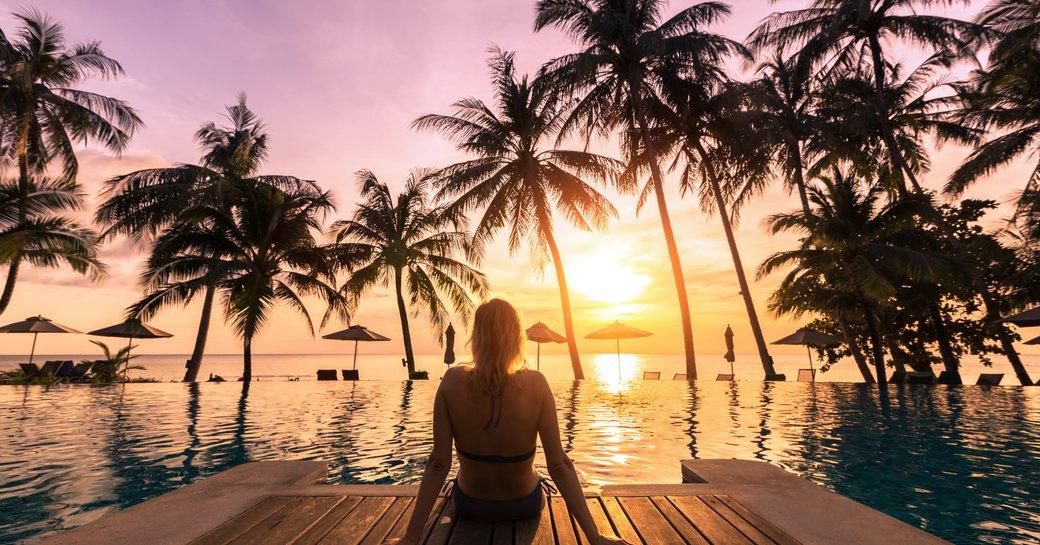 woman relaxing in caribbean